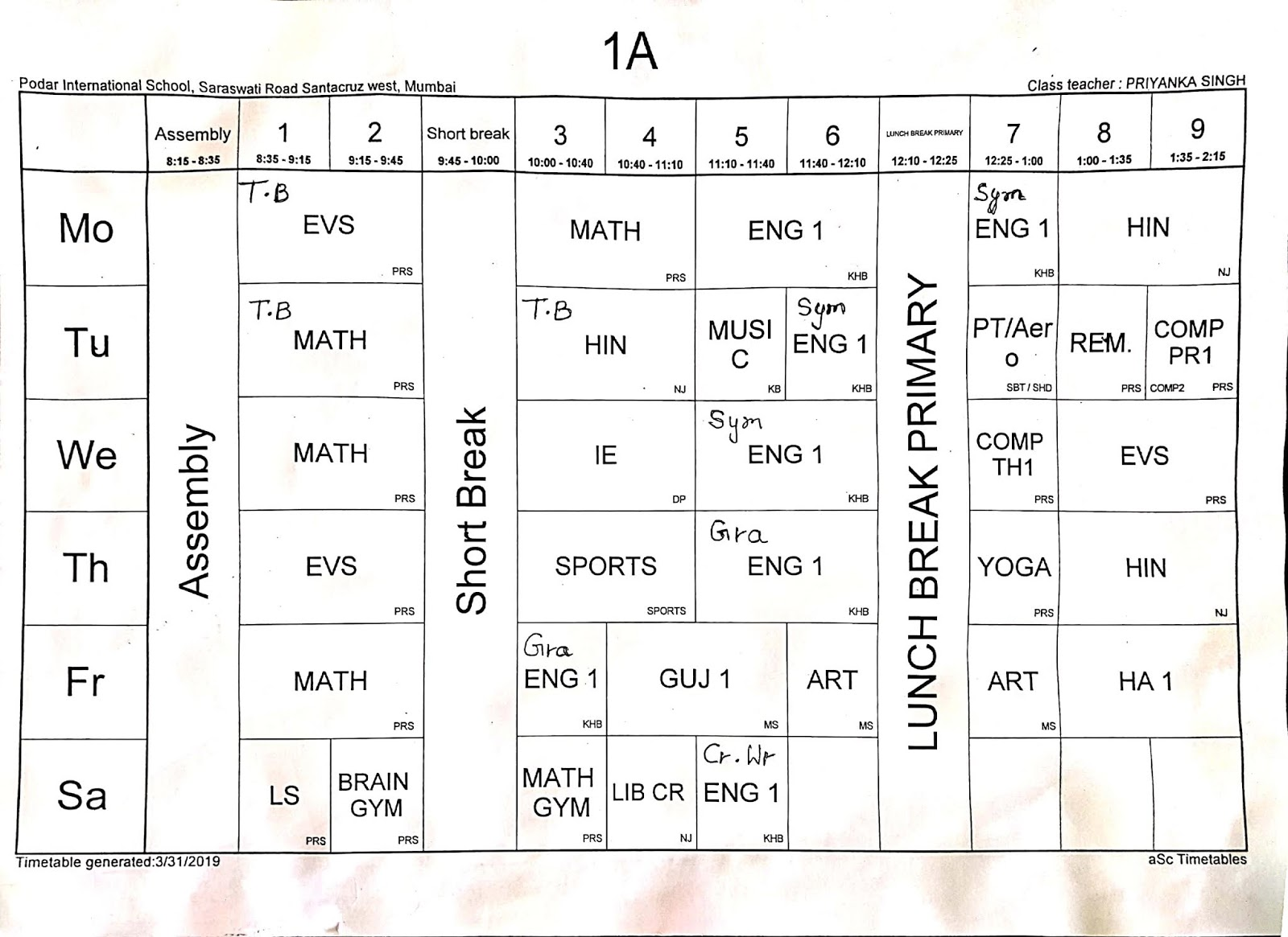 STARS OF PIS AHMEDABAD STD I: TIMETABLE OF CLASS 1- ALL SECTIONS