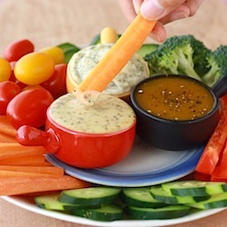 easy to do vegetable dips of spicy honey mustard and sour cream with dill