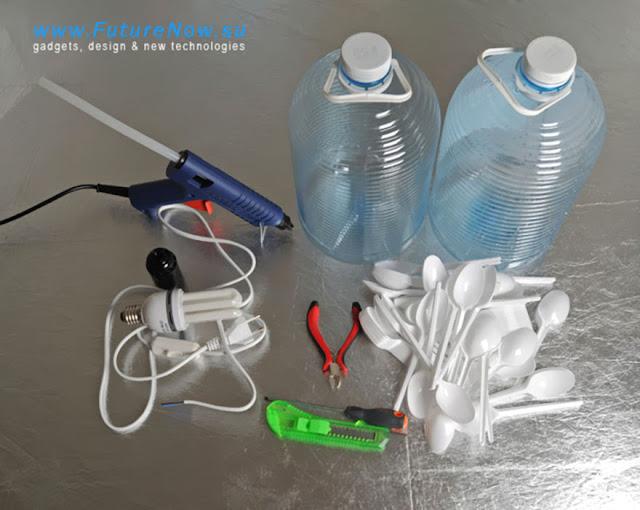 ประดิษฐ์โคมไฟจากช้อนพลาสติก