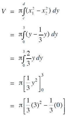 volume benda putar yang terjadi jika daerah yang dibatasi oleh kurva y = x2 , y = 3x2 , dan y = 3 di kuadran pertama diputar mengelilingi sumbu Y sejauh 360o