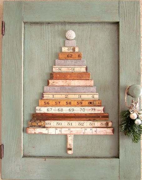 Repurposed folding rulers Christmas tree