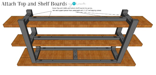 attach top and shelf boards to the table base
