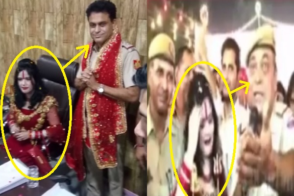delhi-police-dance-sing-and-offer-his-chair-to-farji-radhe-maa-news