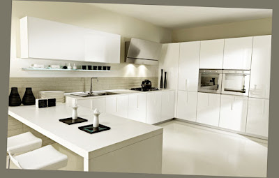 Amazing Kitchen Interior Design White Color for All Cabinet and Wall Clean Fantastic Picture 006