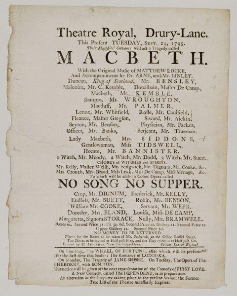 playbill de 1795
