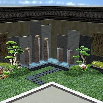 kolam minimalis depan rumah