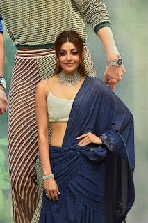ranarangam telugu movie actress kajal agarwal in blue lehenga choli boos show Pictures3