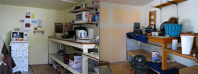 Before and After of Gold Rush cabin kitchen