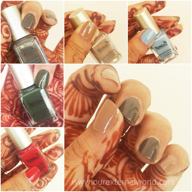 Temix Mini Nail Polish Swatches, dark brown, light brown, red, green, pale blue