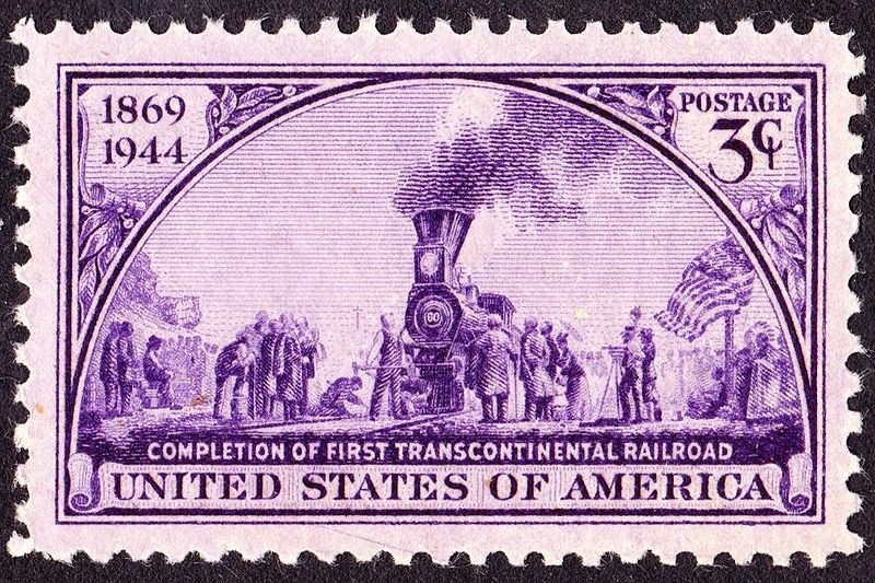 transcontinental railroad postage stamp
