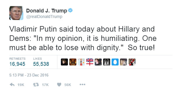 Trump mocks Hillary Clinton over election loss