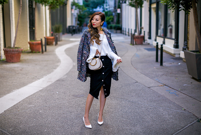 off shoulder sweater, tweed jacket, button pencil skirt, sam edelman white pumps, chloe nile bag, baublebar sequin ball drop earrings, thanksgiving outfit ideas