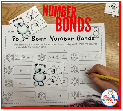 number bonds, winter math centers, Time 4 Kindergarten
