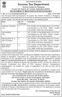 Income Tax Hyderabad Recruitment 2019: Sports Quota (22 Vacancies)