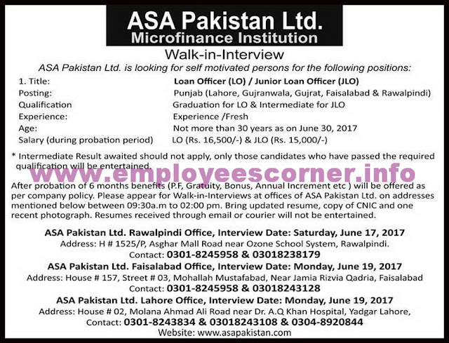 Officers Jobs in ASA Micro Finance Institution for Fresh Graduates LO & JLO Wal in Interview