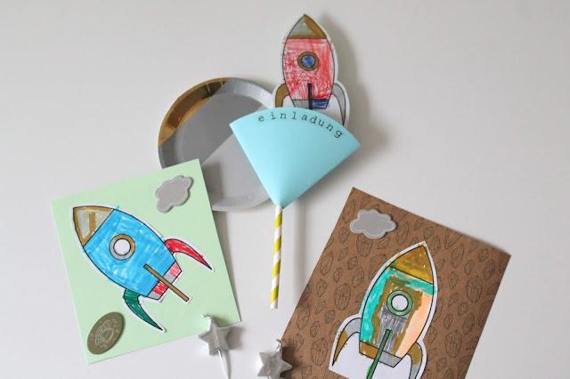 Selbstgemachte DIY Einladungen Einladungskarten Weltraum Rakete Kindergeburtstag Jules kleines Freudenhaus