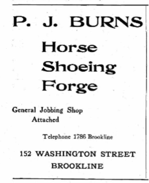 Ad for P.J. Burns blacksmith shop