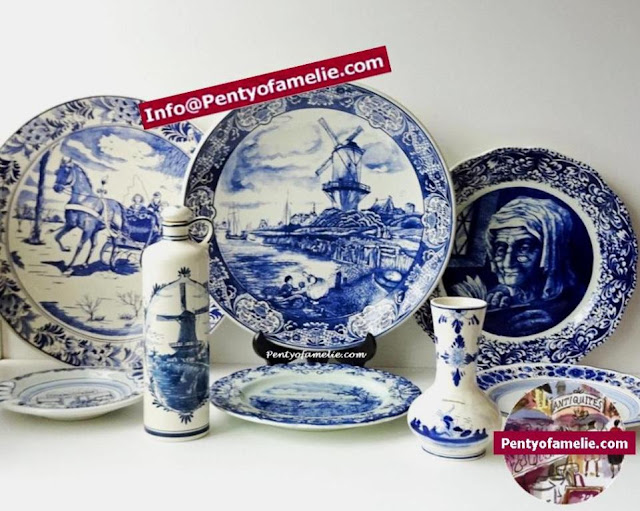 vintage large delft Blue wall plates featuring Louviere, windmill fishing village, Horse and Sleigh