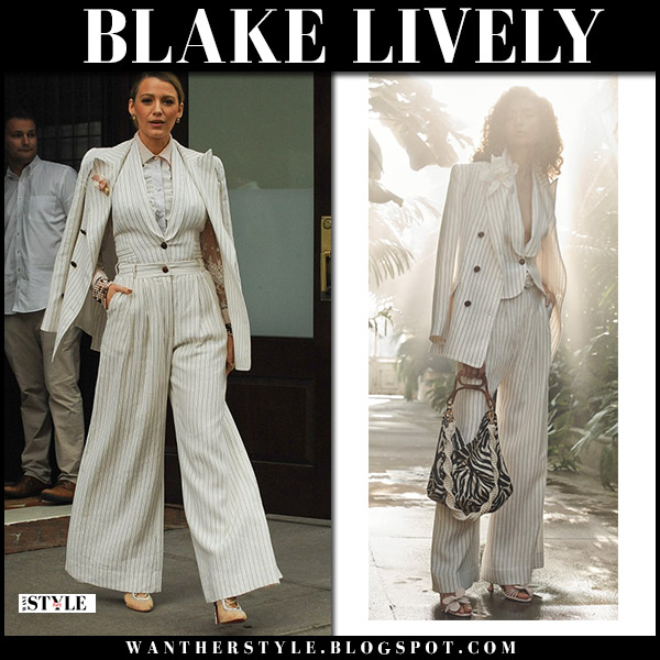 Blake Lively in cream pinstriped blazer and matching wide-leg pants suit zimmermann fall fashion 2018