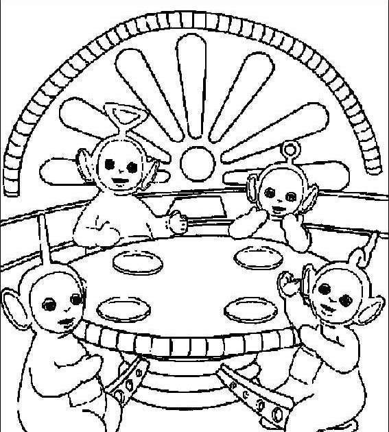 Teletubbies Coloring Book Kids Fun Com: Teletubbies Are Eating Coloring Pages