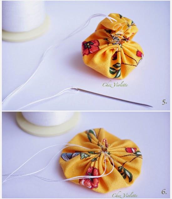 Tuto Barrette yoyo en tissu - DIY Yoyo Flower hair pin - chez violette