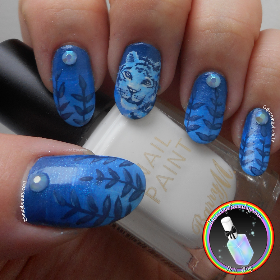 Ithinity Beauty - Nail Art Blog: Freehand Blue Monochromatic Tiger ...