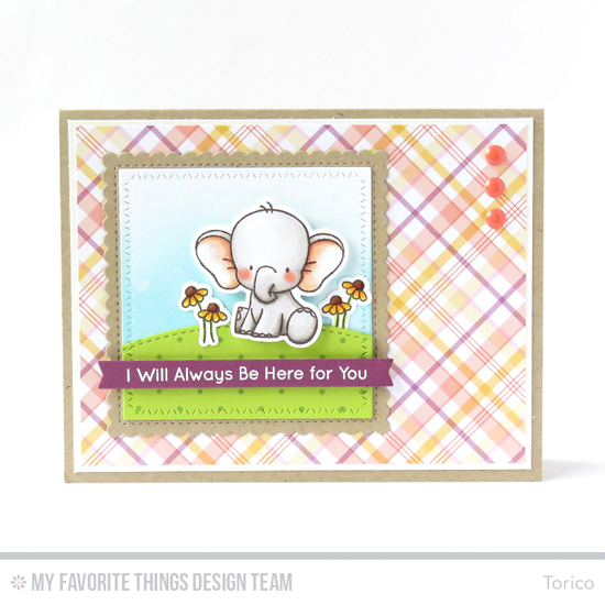 Here for You Card by Torico featuring the Birdie Brown Adorable Elephants stamp set and Die-namics, the Swiss Dots Background stamp, and the Stitched Basic Edges, Zig Zag Stitched Square STAX, Stitched Mini Scallop Square STAX, and Blueprints 27 Die-namics #mftstamps