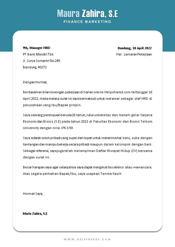 Contoh Surat Lamaran Kerja 8