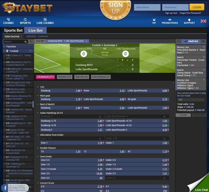 Staybet Live Betting Screen