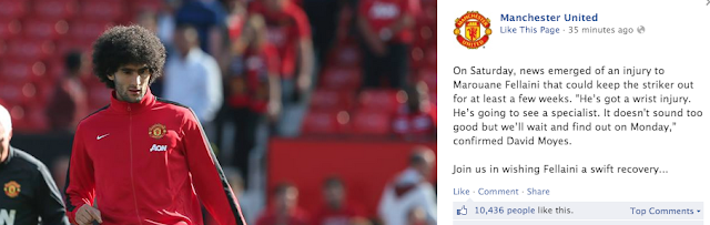 Manchester United Facebook fans rejoice to the news that Marouane Fellaini is injured