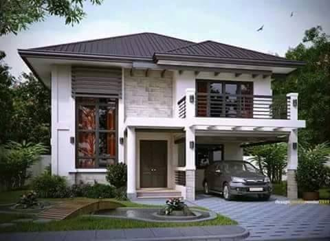 Contemporary house designs 2016 rendition bahay ofw for Two story house with terrace