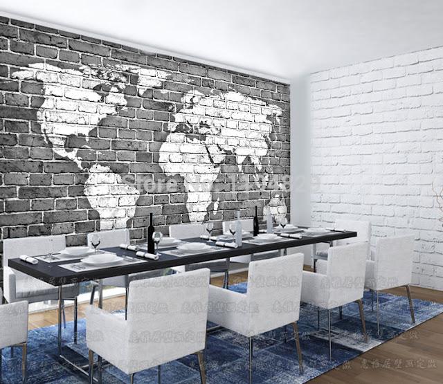 Tapet tegelvägg världskarta tapet tegelsten tegeltapet svartvit