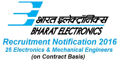BEL Contract Engineers Recruitment 2016