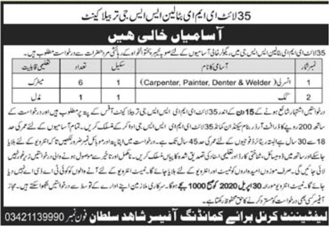 Pakistan Army EME SSG Jobs 2020 Application Form