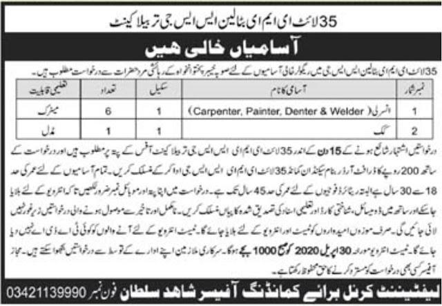 Pakistan Army EME SSG Jobs 2020 Application Form