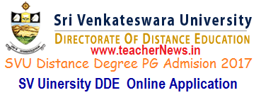 SVU Distance Degree PG Admission Notification 2017 Online Application form