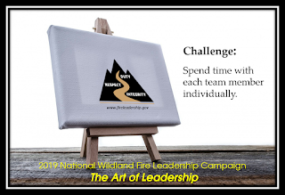 Easel holding canvas with picture of the Wildland Fire Leadership Development Program logo - Challenge: Spend time with each team member individually.