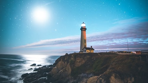 Coast Lighthouse Wallpaper,sky blue,beach,stars