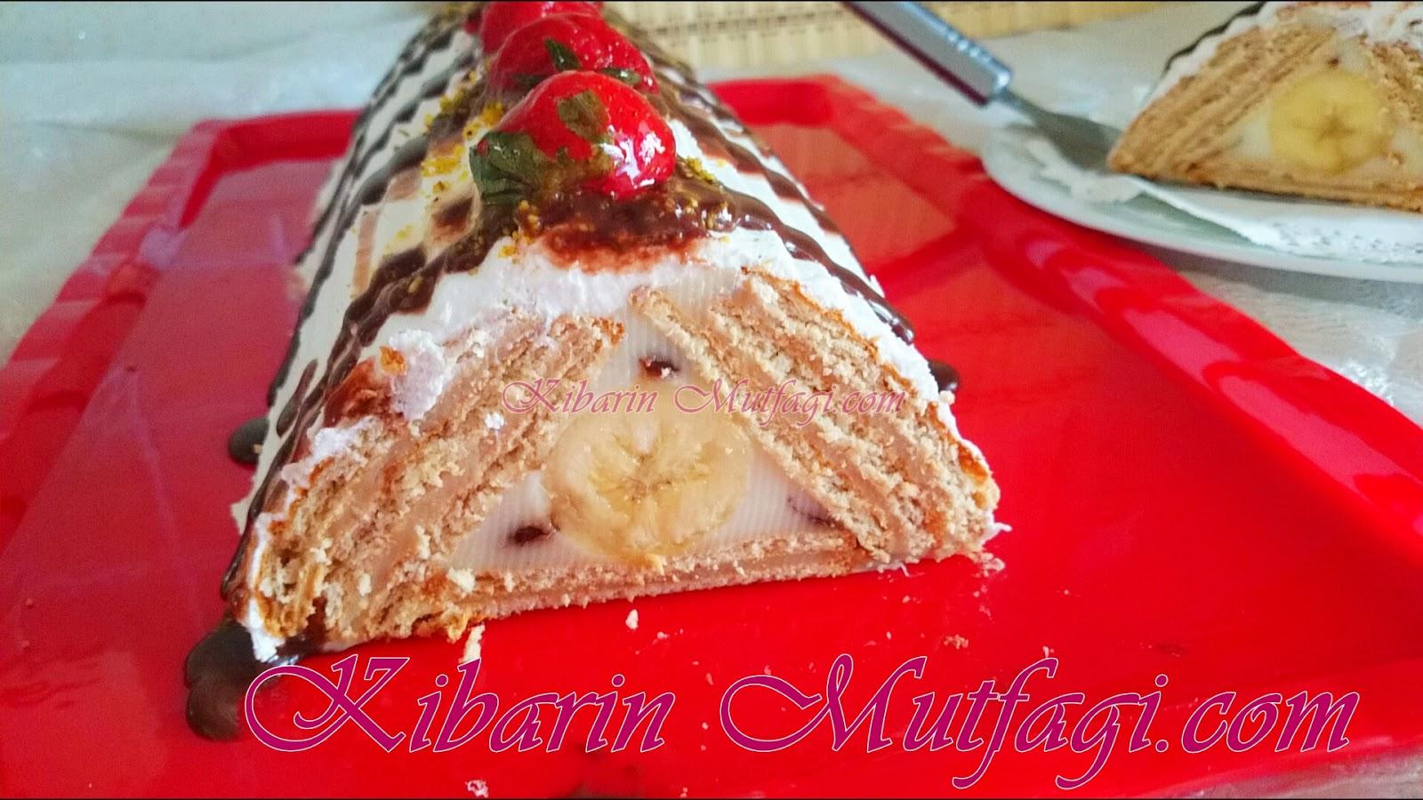 Bisküvili Muzlu Piramit Pasta Videosu