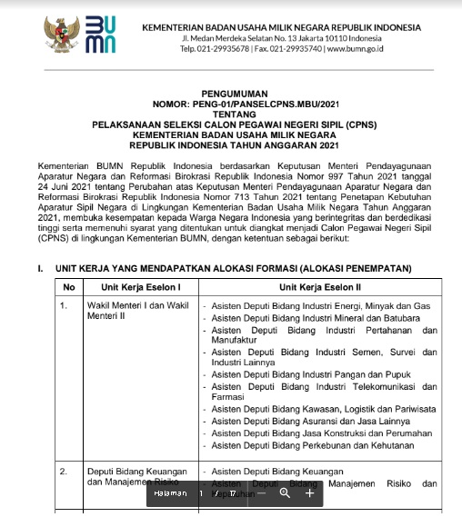 Penerimaan CPNS Kementerian BUMN Tahun 2021