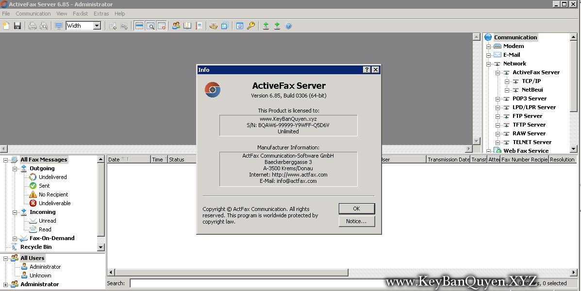 ActFax 6.85 Build 0306 Full Key Download, Phần mềm hỗ trợ truyền và nhận tin nhắn fax trên toàn mạng