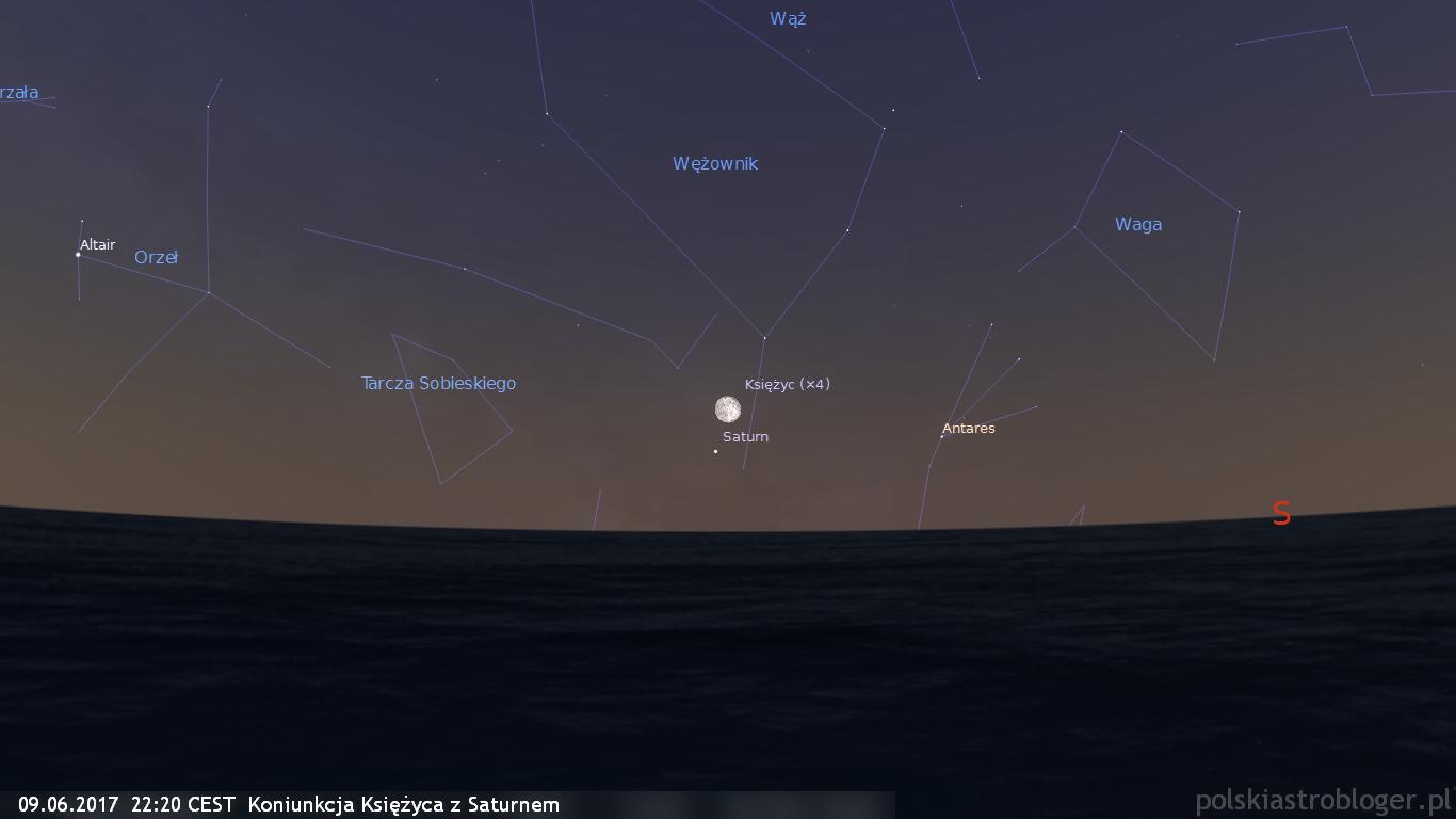 09.06.2017  22:20 CEST  Koniunkcja Księżyca z Saturnem