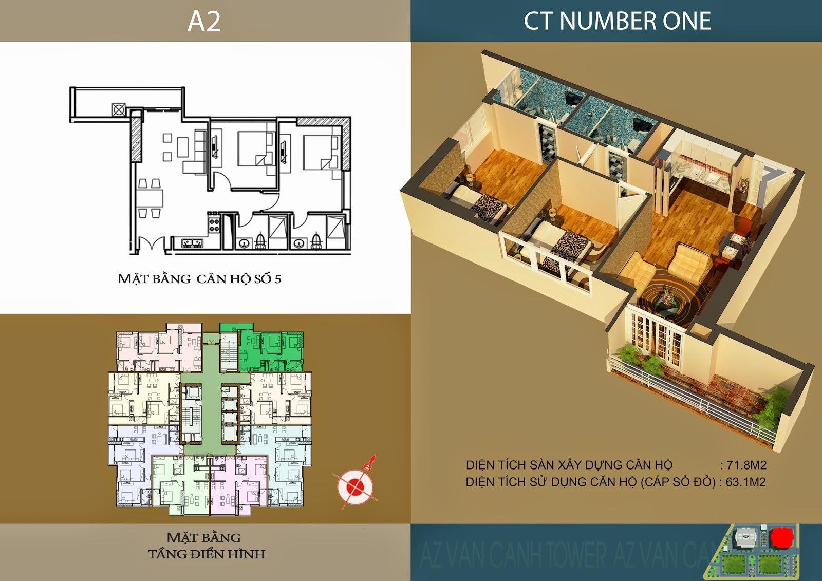 Căn số 5 - Diện tích 71.8m2 tại tòa A2 Chung cư CT Number One