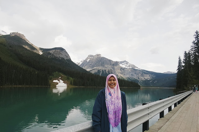 Farah at the Emarald Lake, Yoho National Park, British Columbia, Canada