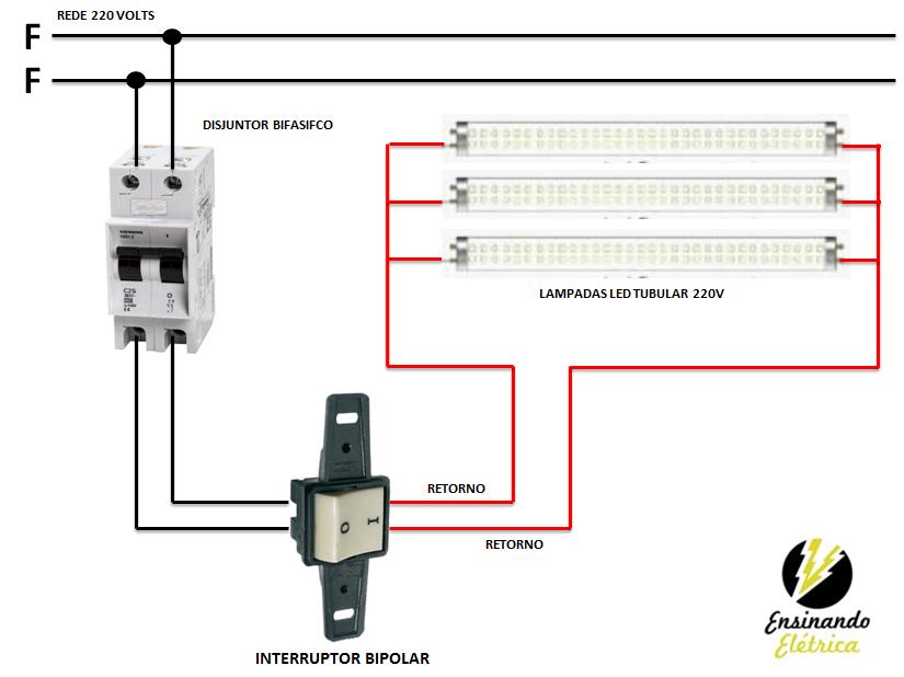 Como ligar lampadas tubular de led ensinando el trica for Instalar fluorescente led