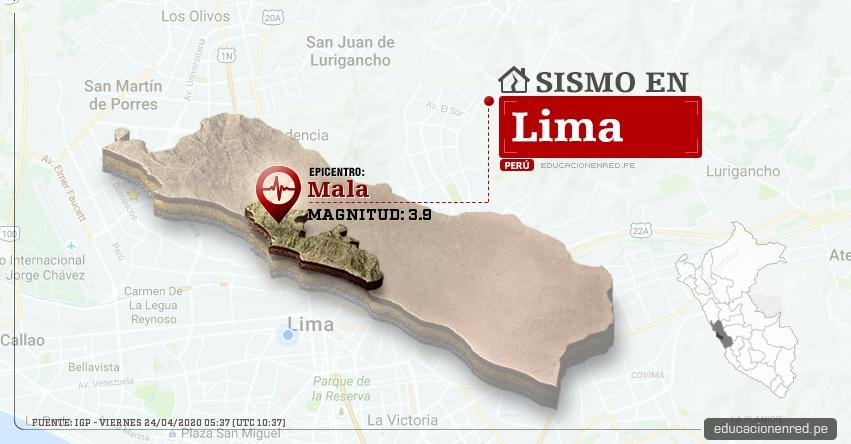 Temblor en Lima de Magnitud 3.9 (Hoy Viernes 24 Abril 2020) Sismo - Epicentro - Mala - Cañete - IGP - www.igp.gob.pe