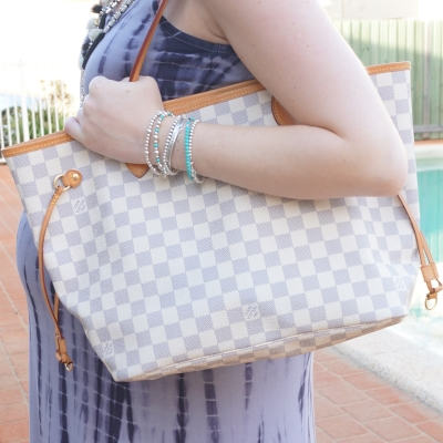 AwayFromTheBlue | Louis Vuitton damier azur MM medium neverfull tote on shoulder