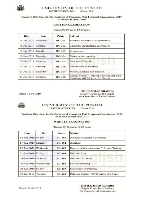 bcom-bachelor of commerce date sheet punjab university annual 2019 exams