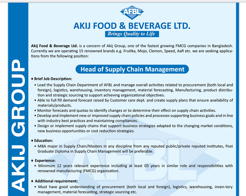 Akij Food & Beverage Ltd - Position: Head of Supply Chain
