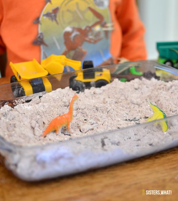 cocoa play dirt for mini plastic toy trucks or mini plastic dinosaurs